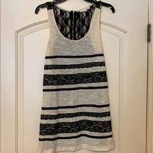 Ina Cream Tank with Black Lace